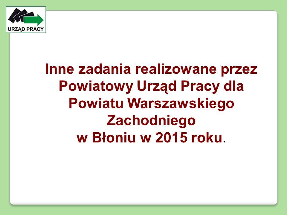 Inne zadania realizowane przez Powiatowy Urząd Pracy dla Powiatu Warszawskiego Zachodniego w Błoniu w 2015 roku.