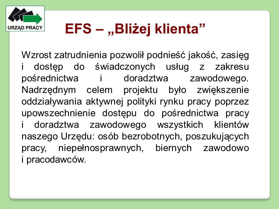 """EFS – """"Bliżej klienta"""" Wzrost zatrudnienia pozwolił podnieść jakość, zasięg i dostęp do świadczonych usług z zakresu pośrednictwa i doradztwa zawodowe"""