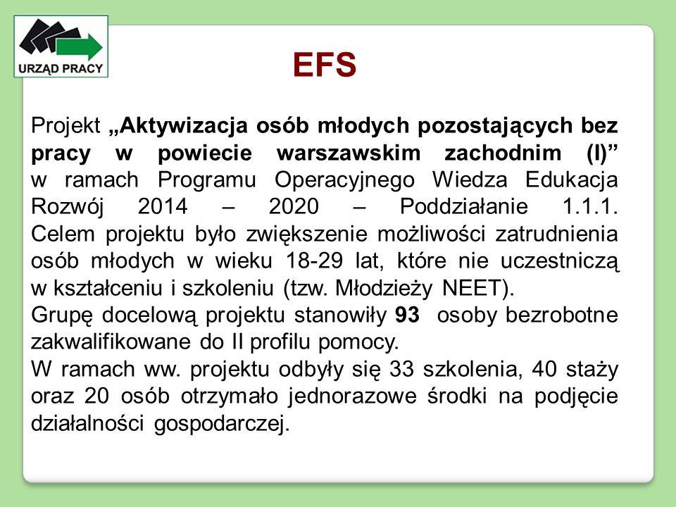 """EFS Projekt """"Aktywizacja osób młodych pozostających bez pracy w powiecie warszawskim zachodnim (I)"""" w ramach Programu Operacyjnego Wiedza Edukacja Roz"""