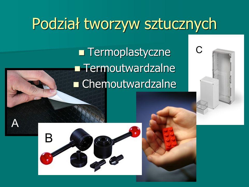 Podział tworzyw sztucznych Termoplastyczne Termoplastyczne Termoutwardzalne Termoutwardzalne Chemoutwardzalne Chemoutwardzalne A B C