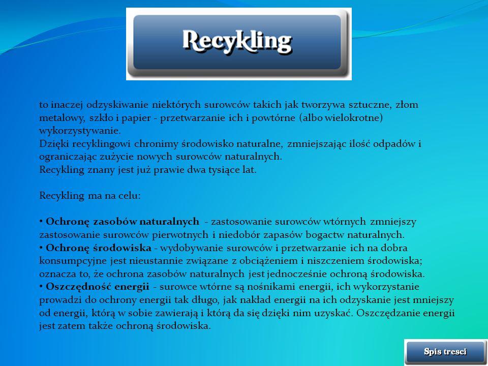 to inaczej odzyskiwanie niektórych surowców takich jak tworzywa sztuczne, złom metalowy, szkło i papier - przetwarzanie ich i powtórne (albo wielokrotne) wykorzystywanie.