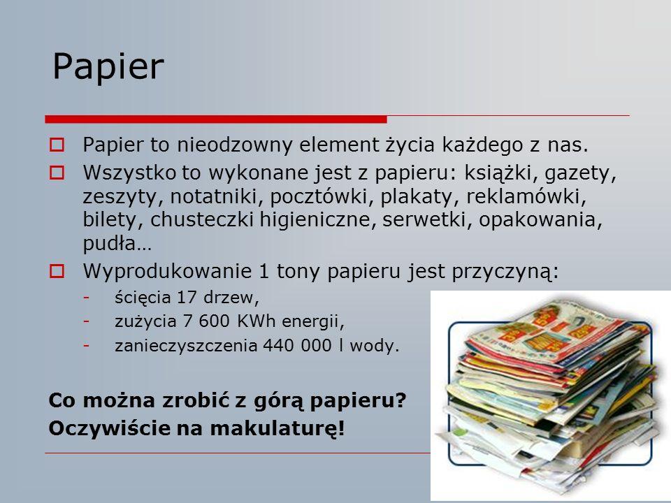 Papier  Papier to nieodzowny element życia każdego z nas.  Wszystko to wykonane jest z papieru: książki, gazety, zeszyty, notatniki, pocztówki, plak