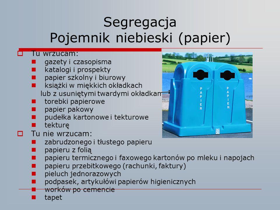Segregacja Pojemnik niebieski (papier)  Tu wrzucam: gazety i czasopisma katalogi i prospekty papier szkolny i biurowy książki w miękkich okładkach lu