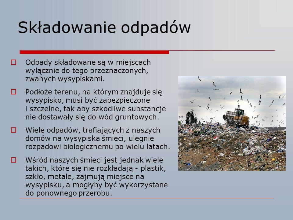 Składowanie odpadów  Odpady składowane są w miejscach wyłącznie do tego przeznaczonych, zwanych wysypiskami.  Podłoże terenu, na którym znajduje się