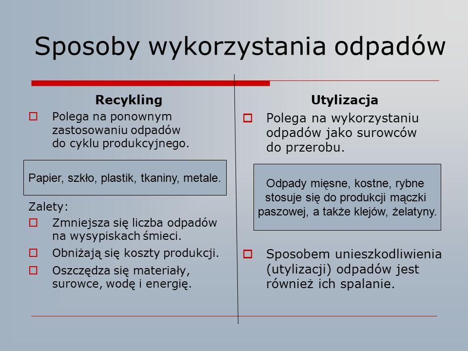 Sposoby wykorzystania odpadów Recykling  Polega na ponownym zastosowaniu odpadów do cyklu produkcyjnego. Zalety:  Zmniejsza się liczba odpadów na wy