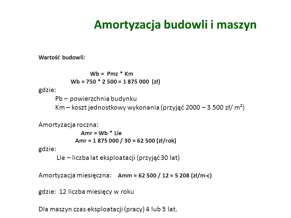 Amortyzacja budowli i maszyn Wartość budowli: Wb = Pmz * Km Wb = 750 * 2 500 = 1 875 000 (zł) gdzie: Pb – powierzchnia budynku Km – koszt jednostkowy wykonania (przyjąć 2000 – 3 500 zł/ m²) Amortyzacja roczna: Amr = Wb * Lie Amr = 1 875 000 / 30 = 62 500 (zł/rok) gdzie: Lle – liczba lat eksploatacji (przyjąć 30 lat) Amortyzacja miesięczna: Amm = 62 500 / 12 = 5 208 (zł/m-c) gdzie: 12 liczba miesięcy w roku Dla maszyn czas eksploatacji (pracy) 4 lub 5 lat.