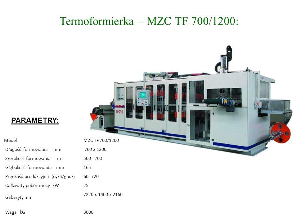 Termoformierka – MZC TF 700/1200: Model MZC TF 700/1200 Długość formowania mm 760 x 1200 Szerokość formowania m 500 - 700 Głębokość formowania mm 165 Prędkość produkcyjna (cykli/godz) 60 -720 Całkowity pobór mocy kW 25 Gabaryty mm 7220 x 1400 x 2160 Waga kG 3000 PARAMETRY: