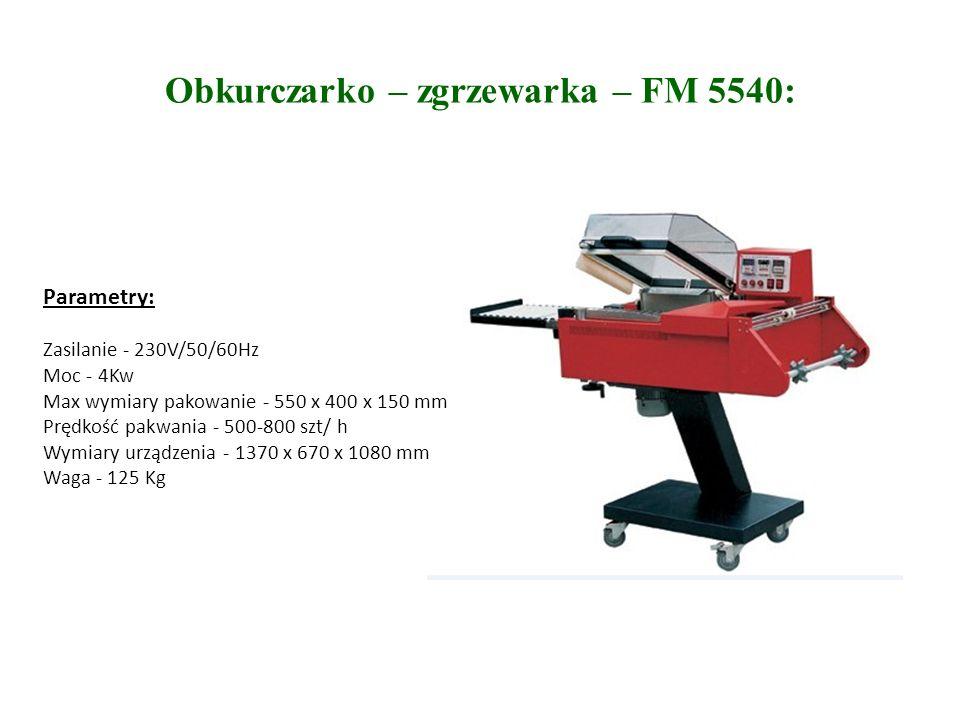Obkurczarko – zgrzewarka – FM 5540: Parametry: Zasilanie - 230V/50/60Hz Moc - 4Kw Max wymiary pakowanie - 550 x 400 x 150 mm Prędkość pakwania - 500-800 szt/ h Wymiary urządzenia - 1370 x 670 x 1080 mm Waga - 125 Kg