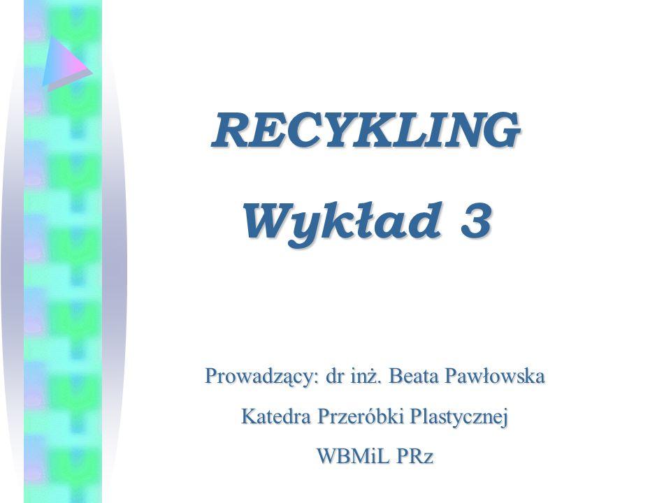 RECYKLING Wykład 3 Prowadzący: dr inż. Beata Pawłowska Katedra Przeróbki Plastycznej WBMiL PRz