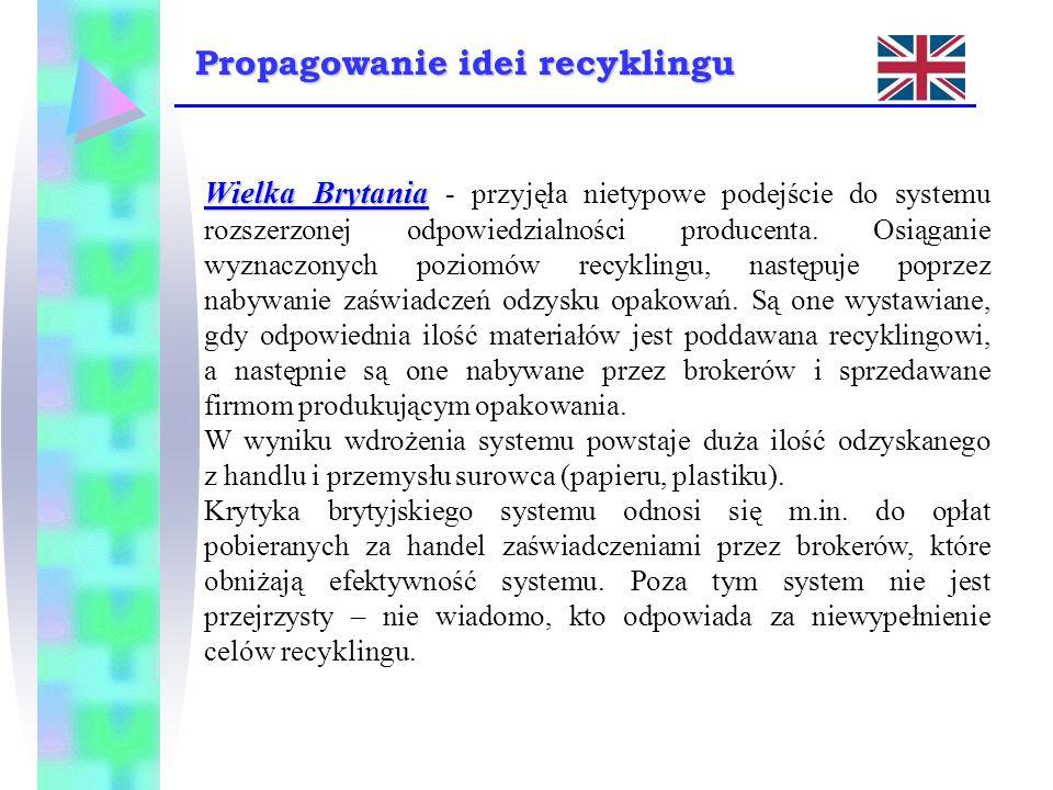 Wielka Brytania Wielka Brytania - przyjęła nietypowe podejście do systemu rozszerzonej odpowiedzialności producenta. Osiąganie wyznaczonych poziomów r