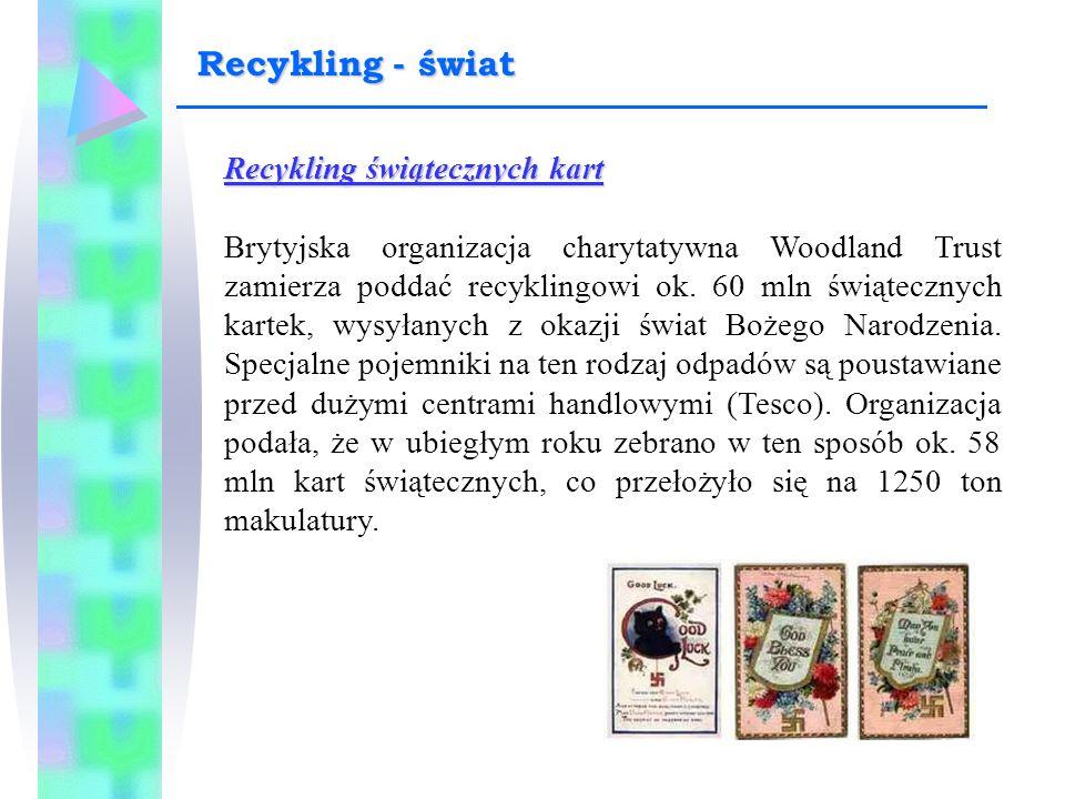 Recykling świątecznych kart Brytyjska organizacja charytatywna Woodland Trust zamierza poddać recyklingowi ok. 60 mln świątecznych kartek, wysyłanych