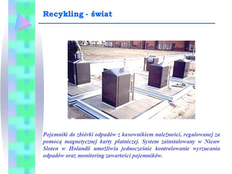 Pojemniki do zbiórki odpadów z kasownikiem należności, regulowanej za pomocą magnetycznej karty płatniczej. System zainstalowany w Nieuw Sloten w Hola