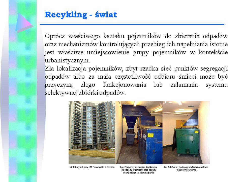 Oprócz właściwego kształtu pojemników do zbierania odpadów oraz mechanizmów kontrolujących przebieg ich napełniania istotne jest właściwe umiejscowien