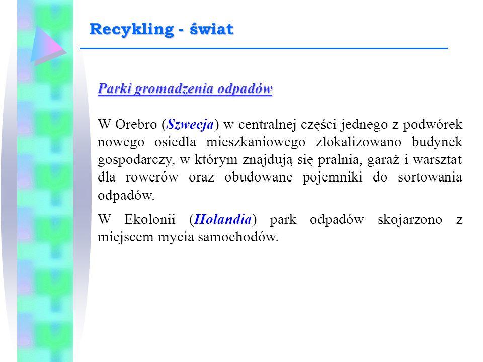 Parki gromadzenia odpadów W Orebro (Szwecja) w centralnej części jednego z podwórek nowego osiedla mieszkaniowego zlokalizowano budynek gospodarczy, w