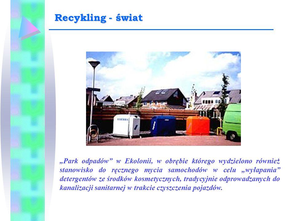 """""""Park odpadów"""" w Ekolonii, w obrębie którego wydzielono również stanowisko do ręcznego mycia samochodów w celu """"wyłapania"""" detergentów ze środków kosm"""