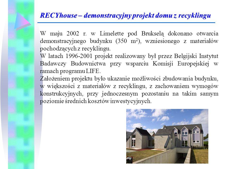 W maju 2002 r. w Limelette pod Brukselą dokonano otwarcia demonstracyjnego budynku (350 m 2 ), wzniesionego z materiałów pochodzących z recyklingu. W