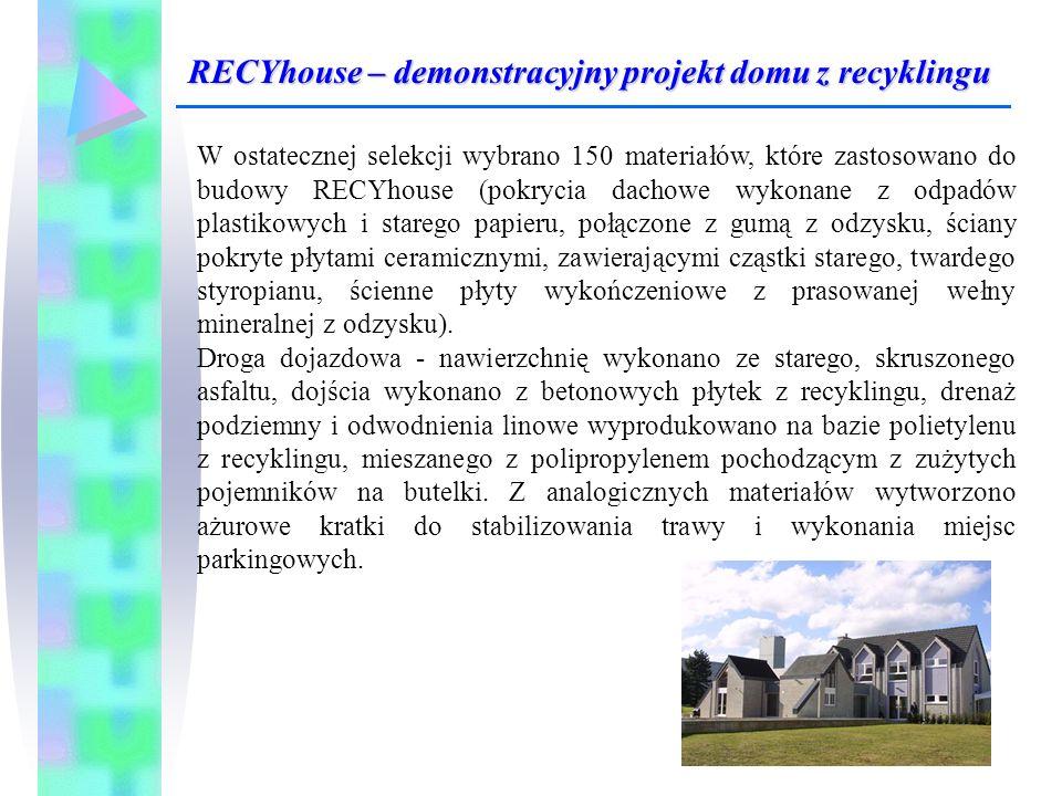 W ostatecznej selekcji wybrano 150 materiałów, które zastosowano do budowy RECYhouse (pokrycia dachowe wykonane z odpadów plastikowych i starego papie