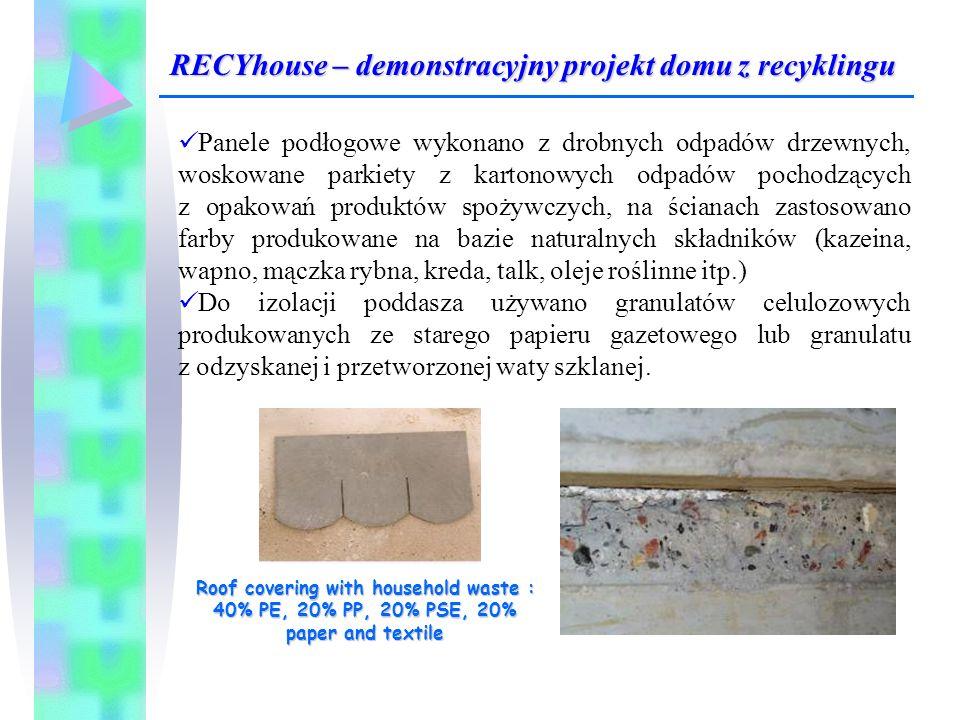 Panele podłogowe wykonano z drobnych odpadów drzewnych, woskowane parkiety z kartonowych odpadów pochodzących z opakowań produktów spożywczych, na ści