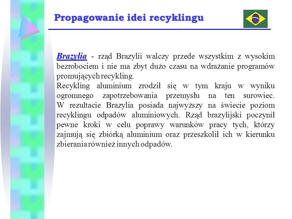 Brazylia Brazylia - rząd Brazylii walczy przede wszystkim z wysokim bezrobociem i nie ma zbyt dużo czasu na wdrażanie programów promujących recykling.