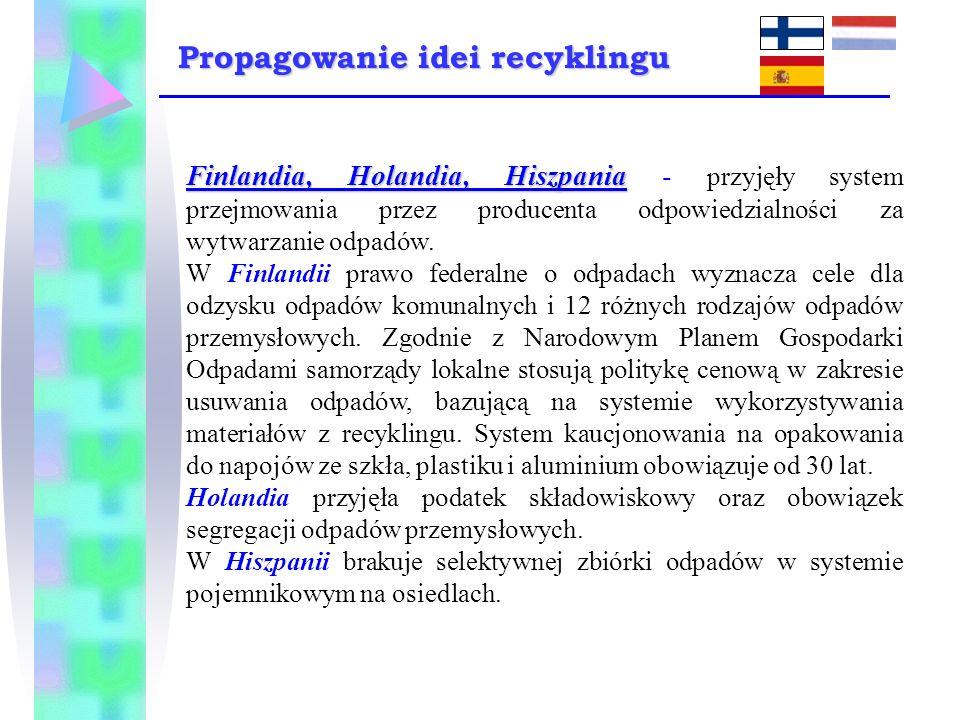 Finlandia, Holandia, Hiszpania Finlandia, Holandia, Hiszpania - przyjęły system przejmowania przez producenta odpowiedzialności za wytwarzanie odpadów