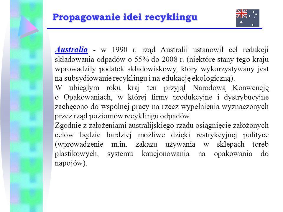 Australia Australia - w 1990 r. rząd Australii ustanowił cel redukcji składowania odpadów o 55% do 2008 r. (niektóre stany tego kraju wprowadziły poda