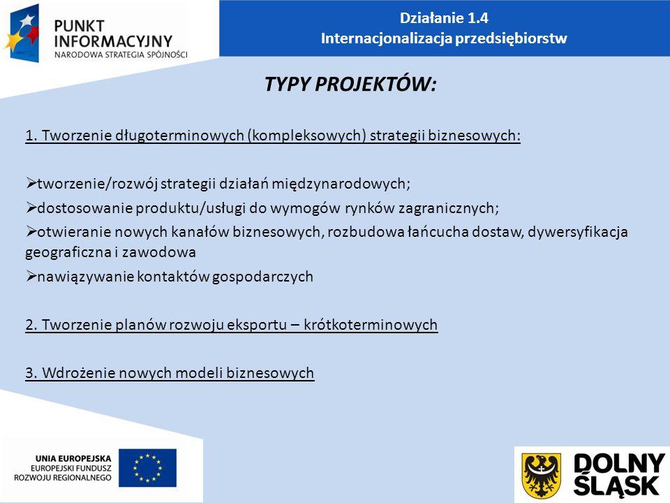 Działanie 1.4 Internacjonalizacja przedsiębiorstw TYPY PROJEKTÓW: 1.