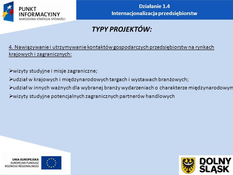 Działanie 1.4 Internacjonalizacja przedsiębiorstw TYPY PROJEKTÓW: 4.