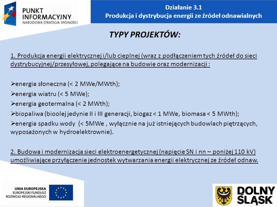 Działanie 3.1 Produkcja i dystrybucja energii ze źródeł odnawialnych TYPY PROJEKTÓW: 1.