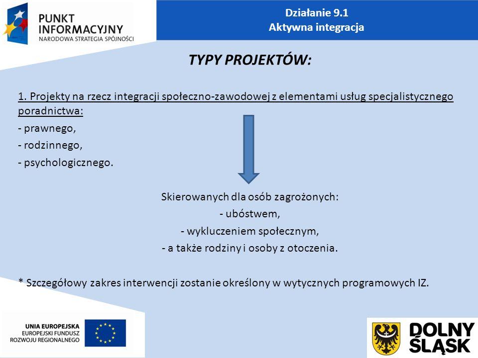 Działanie 9.1 Aktywna integracja TYPY PROJEKTÓW: 1.