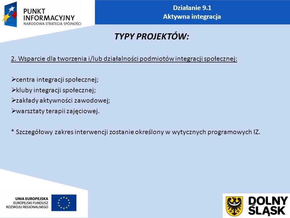 Działanie 9.1 Aktywna integracja TYPY PROJEKTÓW: 2.