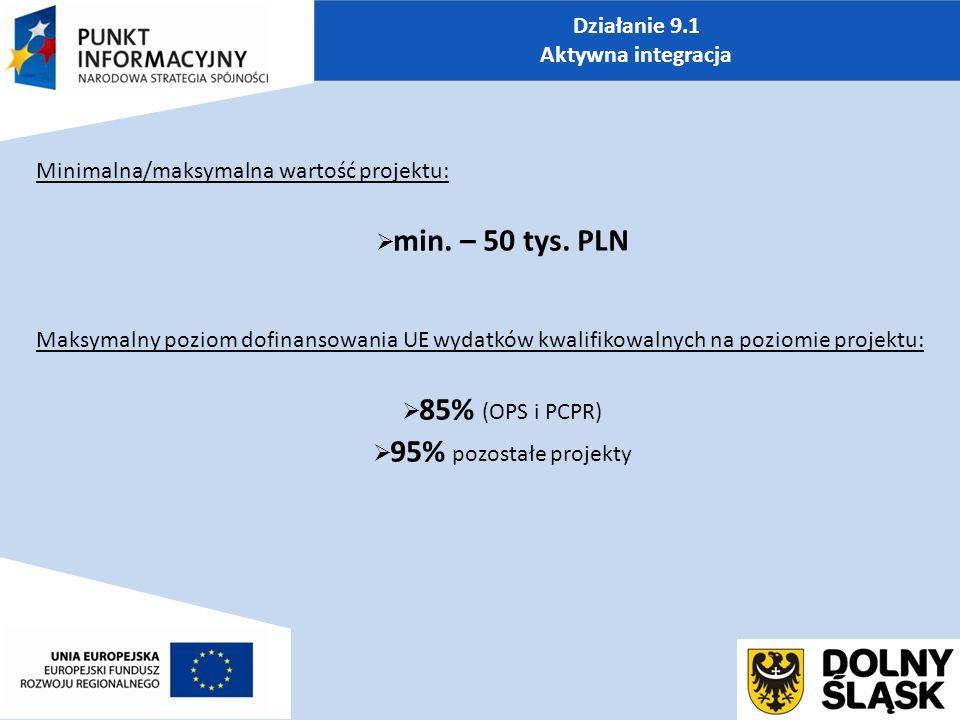Działanie 9.1 Aktywna integracja Minimalna/maksymalna wartość projektu:  min.