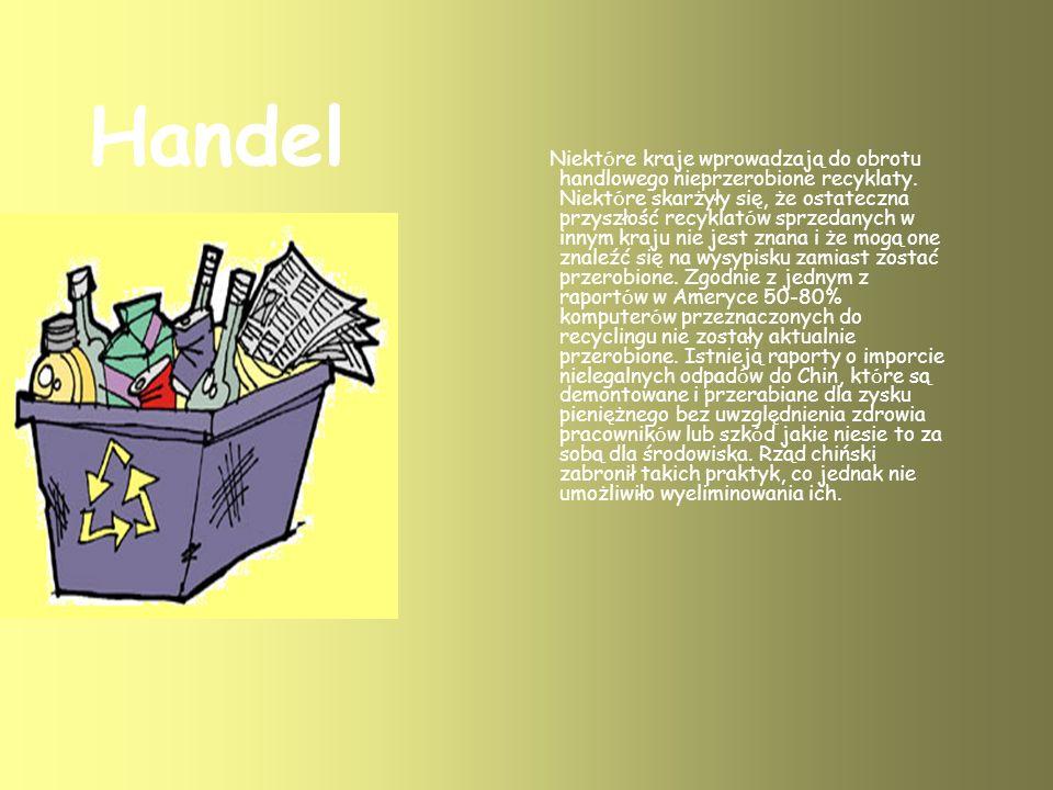 Handel Niekt ó re kraje wprowadzają do obrotu handlowego nieprzerobione recyklaty.