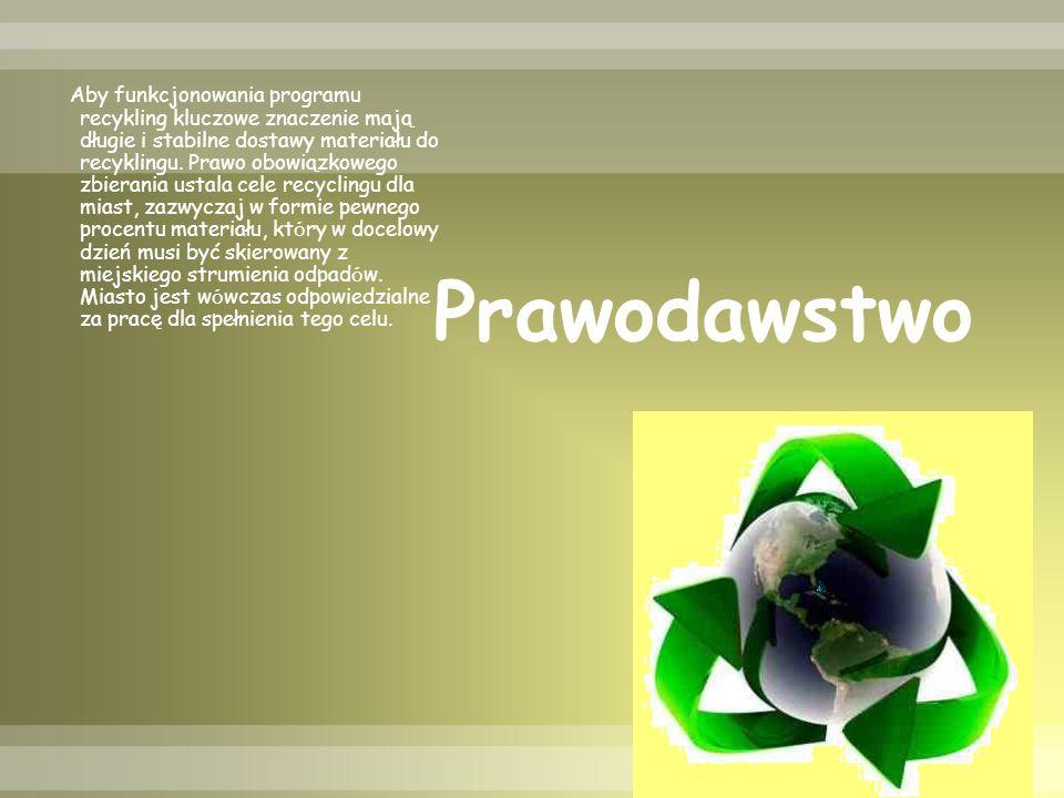 Prawodawstwo Aby funkcjonowania programu recykling kluczowe znaczenie mają długie i stabilne dostawy materiału do recyklingu.