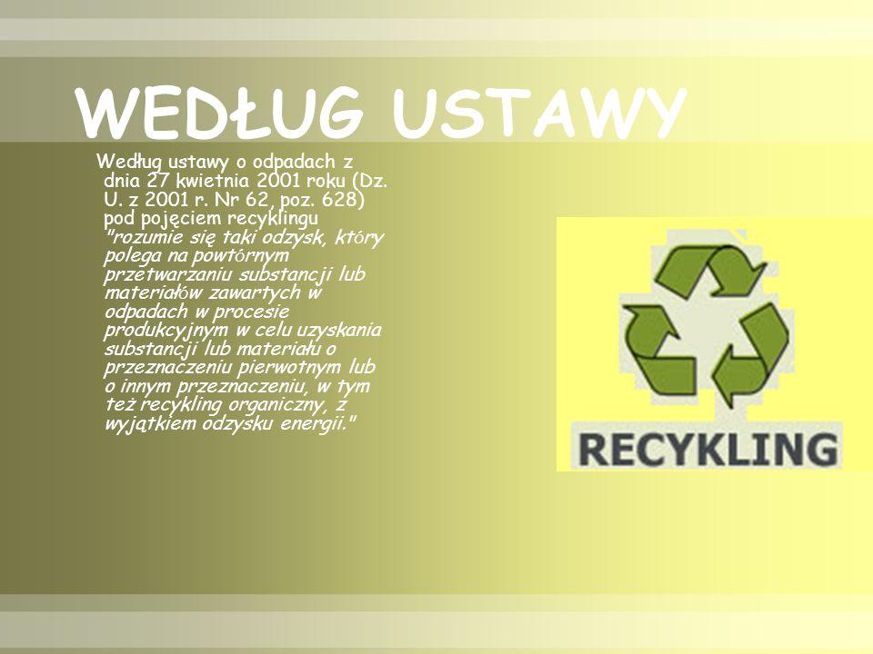 WEDŁUG USTAWY Według ustawy o odpadach z dnia 27 kwietnia 2001 roku (Dz.