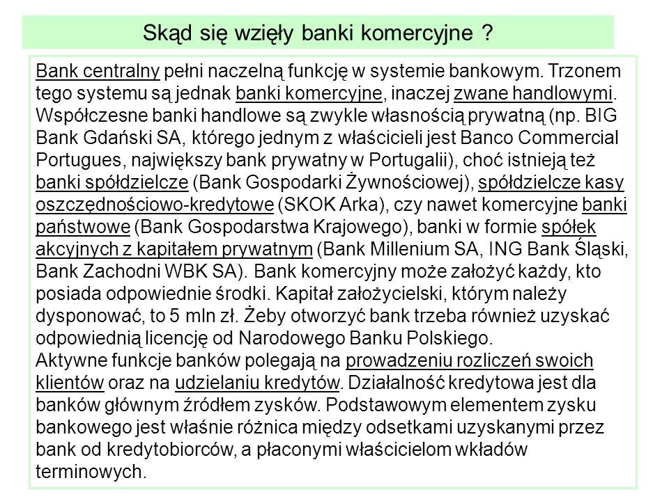 Skąd się wzięły banki komercyjne . Bank centralny pełni naczelną funkcję w systemie bankowym.