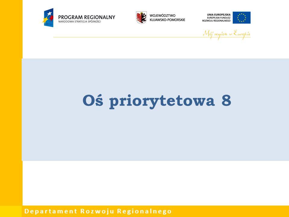 Departament Rozwoju Regionalnego Oś priorytetowa 8