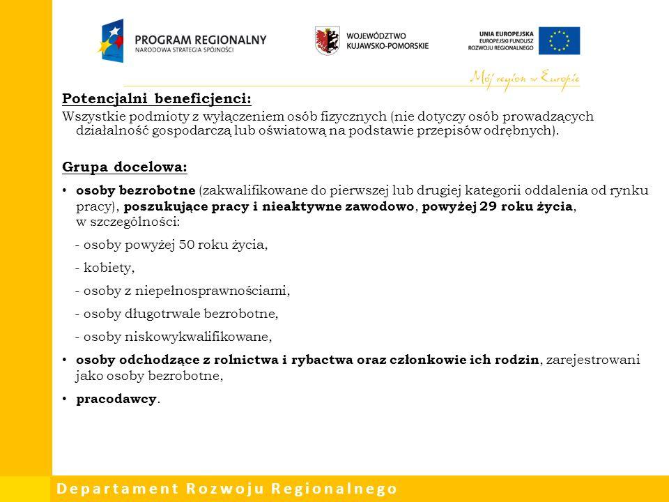 Departament Rozwoju Regionalnego Potencjalni beneficjenci: Wszystkie podmioty z wyłączeniem osób fizycznych (nie dotyczy osób prowadzących działalność gospodarczą lub oświatową na podstawie przepisów odrębnych).