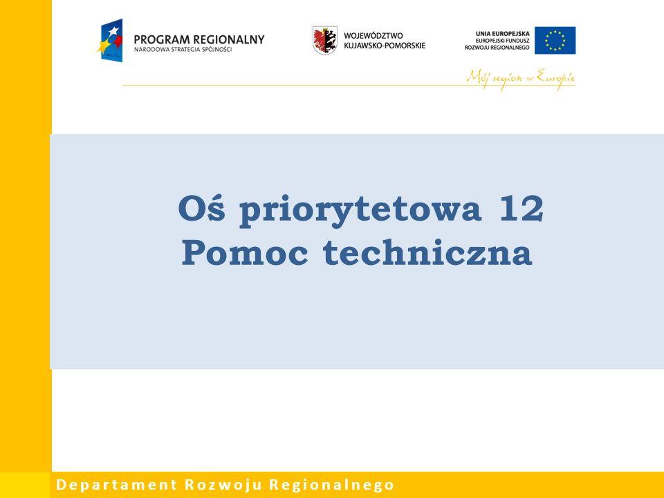 Departament Rozwoju Regionalnego Oś priorytetowa 12 Pomoc techniczna