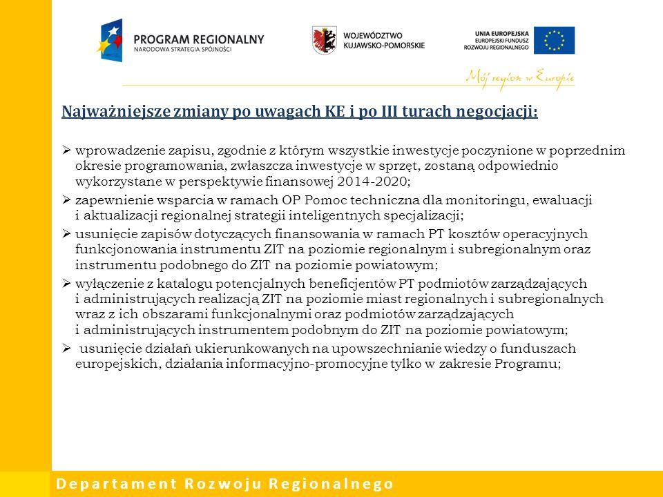 Departament Rozwoju Regionalnego Najważniejsze zmiany po uwagach KE i po III turach negocjacji:  wprowadzenie zapisu, zgodnie z którym wszystkie inwestycje poczynione w poprzednim okresie programowania, zwłaszcza inwestycje w sprzęt, zostaną odpowiednio wykorzystane w perspektywie finansowej 2014-2020;  zapewnienie wsparcia w ramach OP Pomoc techniczna dla monitoringu, ewaluacji i aktualizacji regionalnej strategii inteligentnych specjalizacji;  usunięcie zapisów dotyczących finansowania w ramach PT kosztów operacyjnych funkcjonowania instrumentu ZIT na poziomie regionalnym i subregionalnym oraz instrumentu podobnego do ZIT na poziomie powiatowym;  wyłączenie z katalogu potencjalnych beneficjentów PT podmiotów zarządzających i administrujących realizacją ZIT na poziomie miast regionalnych i subregionalnych wraz z ich obszarami funkcjonalnymi oraz podmiotów zarządzających i administrujących instrumentem podobnym do ZIT na poziomie powiatowym;  usunięcie działań ukierunkowanych na upowszechnianie wiedzy o funduszach europejskich, działania informacyjno-promocyjne tylko w zakresie Programu;