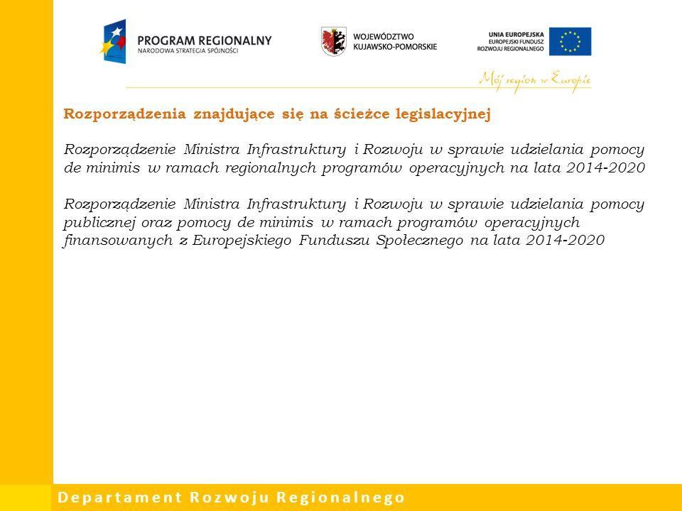 Departament Rozwoju Regionalnego Rozporządzenia znajdujące się na ścieżce legislacyjnej Rozporządzenie Ministra Infrastruktury i Rozwoju w sprawie udzielania pomocy de minimis w ramach regionalnych programów operacyjnych na lata 2014-2020 Rozporządzenie Ministra Infrastruktury i Rozwoju w sprawie udzielania pomocy publicznej oraz pomocy de minimis w ramach programów operacyjnych finansowanych z Europejskiego Funduszu Społecznego na lata 2014-2020