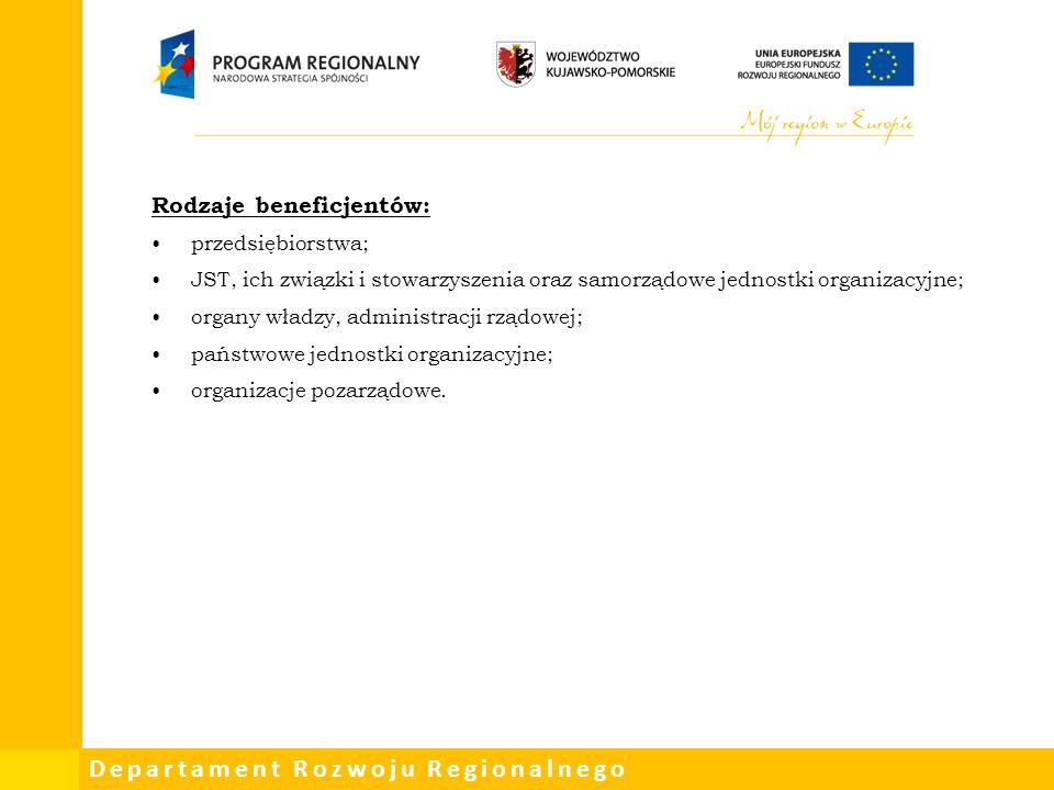 Departament Rozwoju Regionalnego Rodzaje beneficjentów: przedsiębiorstwa; JST, ich związki i stowarzyszenia oraz samorządowe jednostki organizacyjne; organy władzy, administracji rządowej; państwowe jednostki organizacyjne; organizacje pozarządowe.