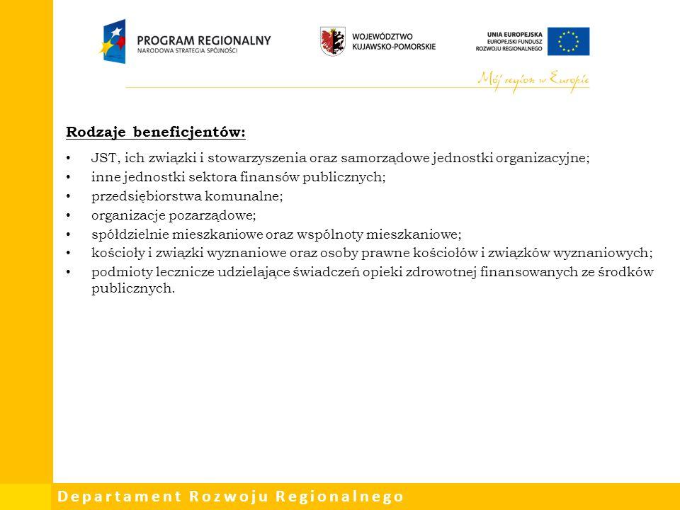 Departament Rozwoju Regionalnego Rodzaje beneficjentów: JST, ich związki i stowarzyszenia oraz samorządowe jednostki organizacyjne; inne jednostki sektora finansów publicznych; przedsiębiorstwa komunalne; organizacje pozarządowe; spółdzielnie mieszkaniowe oraz wspólnoty mieszkaniowe; kościoły i związki wyznaniowe oraz osoby prawne kościołów i związków wyznaniowych; podmioty lecznicze udzielające świadczeń opieki zdrowotnej finansowanych ze środków publicznych.