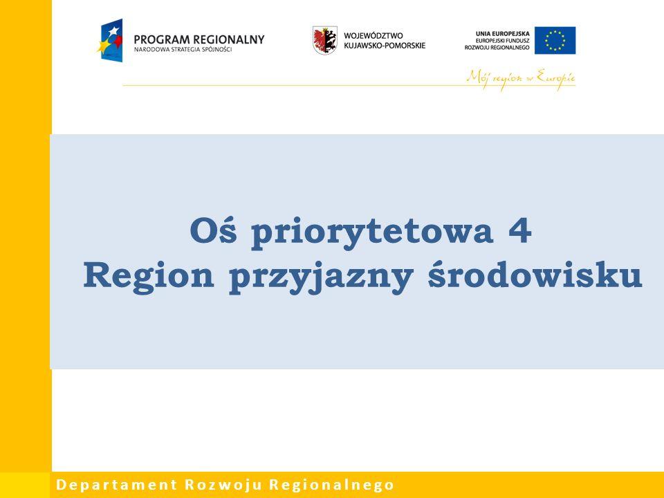 Departament Rozwoju Regionalnego Oś priorytetowa 4 Region przyjazny środowisku
