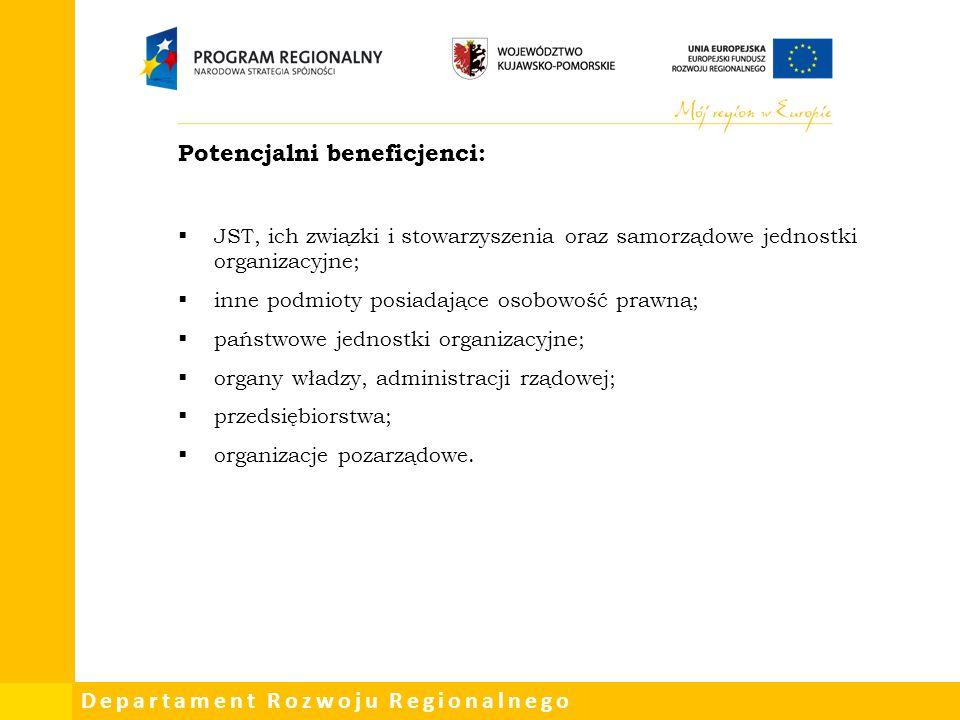Departament Rozwoju Regionalnego Potencjalni beneficjenci:  JST, ich związki i stowarzyszenia oraz samorządowe jednostki organizacyjne;  inne podmioty posiadające osobowość prawną;  państwowe jednostki organizacyjne;  organy władzy, administracji rządowej;  przedsiębiorstwa;  organizacje pozarządowe.