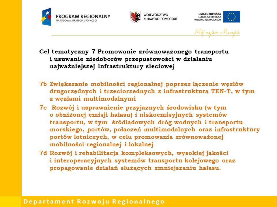 Departament Rozwoju Regionalnego Cel tematyczny 7 Promowanie zrównoważonego transportu i usuwanie niedoborów przepustowości w działaniu najważniejszej infrastruktury sieciowej 7bZwiększanie mobilności regionalnej poprzez łączenie węzłów drugorzędnych i trzeciorzędnych z infrastrukturą TEN-T, w tym z węzłami multimodalnymi 7c Rozwój i usprawnienie przyjaznych środowisku (w tym o obniżonej emisji hałasu) i niskoemisyjnych systemów transportu, w tym śródlądowych dróg wodnych i transportu morskiego, portów, połączeń multimodalnych oraz infrastruktury portów lotniczych, w celu promowania zrównoważonej mobilności regionalnej i lokalnej 7dRozwój i rehabilitacja kompleksowych, wysokiej jakości i interoperacyjnych systemów transportu kolejowego oraz propagowanie działań służących zmniejszaniu hałasu.