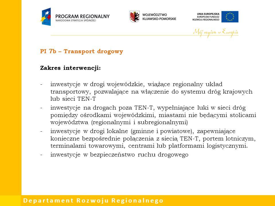 Departament Rozwoju Regionalnego PI 7b – Transport drogowy Zakres interwencji: -inwestycje w drogi wojewódzkie, wiążące regionalny układ transportowy, pozwalające na włączenie do systemu dróg krajowych lub sieci TEN-T -inwestycje na drogach poza TEN-T, wypełniające luki w sieci dróg pomiędzy ośrodkami wojewódzkimi, miastami nie będącymi stolicami województwa (regionalnymi i subregionalnymi) -inwestycje w drogi lokalne (gminne i powiatowe), zapewniające konieczne bezpośrednie połączenia z siecią TEN-T, portem lotniczym, terminalami towarowymi, centrami lub platformami logistycznymi.