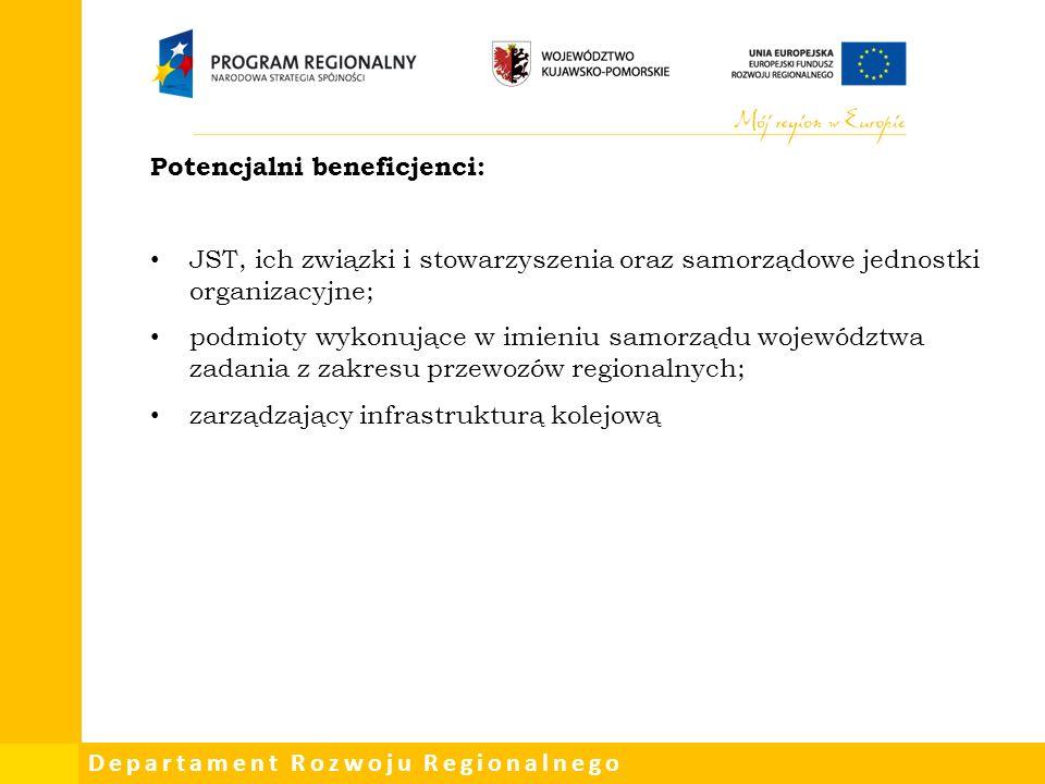 Departament Rozwoju Regionalnego Potencjalni beneficjenci: JST, ich związki i stowarzyszenia oraz samorządowe jednostki organizacyjne; podmioty wykonujące w imieniu samorządu województwa zadania z zakresu przewozów regionalnych; zarządzający infrastrukturą kolejową