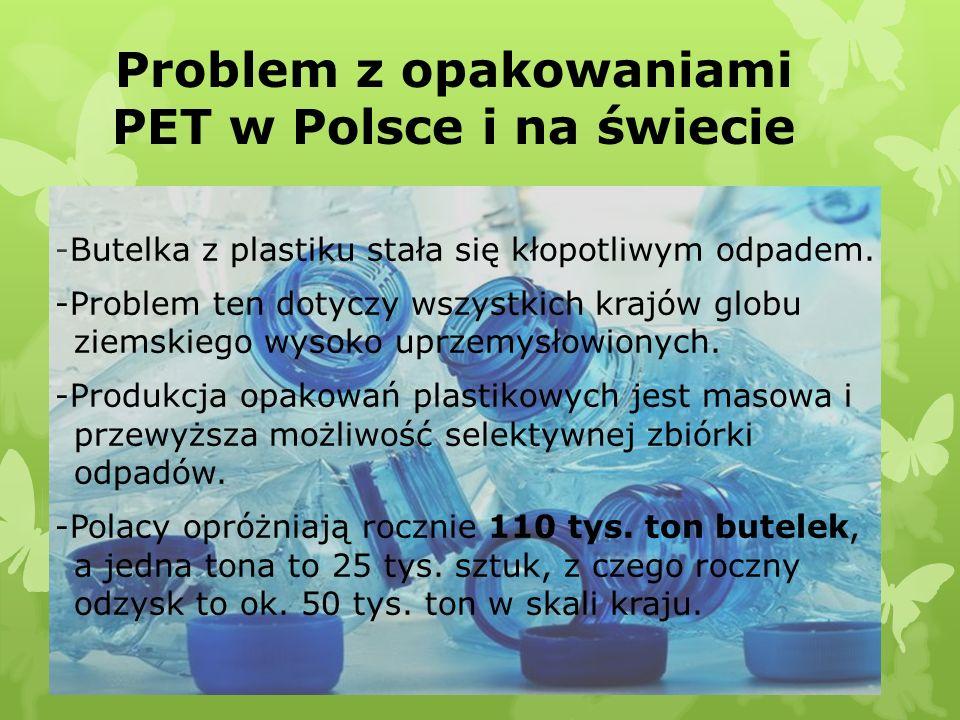 Problem z opakowaniami PET w Polsce i na świecie -Butelka z plastiku stała się kłopotliwym odpadem. -Problem ten dotyczy wszystkich krajów globu ziems