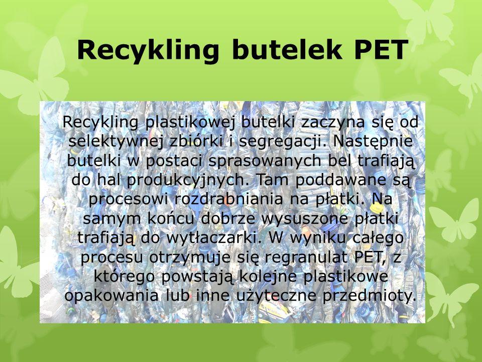 Recykling butelek PET Recykling plastikowej butelki zaczyna się od selektywnej zbiórki i segregacji. Następnie butelki w postaci sprasowanych bel traf