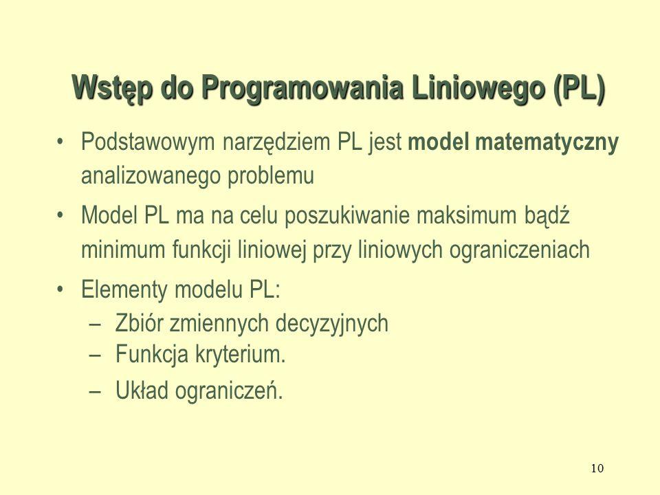 9 Wstęp do PL Zastosowania modeli PL w różnych dziedzinach: Produkcja Finanse Rolnictwo Marketing i reklama, itd...